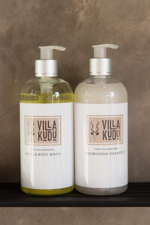 Villa Kudu amenities, shampoo & body wash