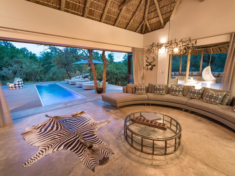 Villa Kudu Living Room with pool view