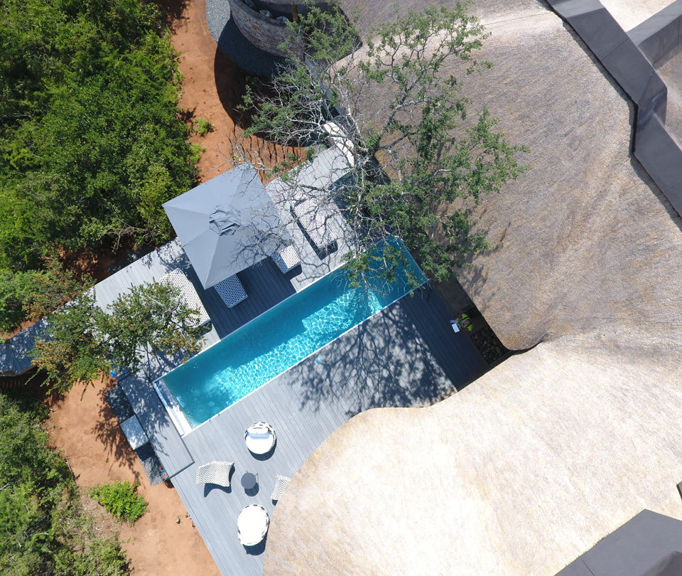 Villa Kudu, swimming-pool from above